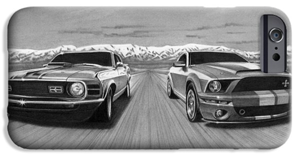 Graphite Drawing iPhone Cases - USA Muscle  iPhone Case by Tim Dangaran