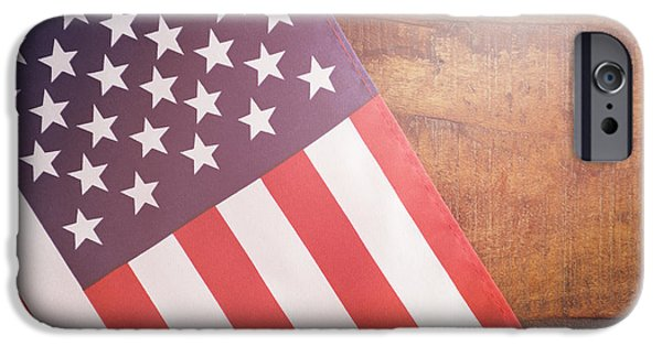 American Independance Photographs iPhone Cases - USA Stars and Stripes Flag on Dark Wood iPhone Case by Milleflore Images