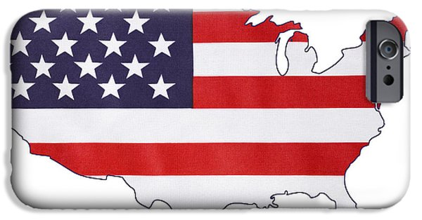 Independance Day iPhone Cases - USA Stars and Stripes flag within outline of USA map. iPhone Case by Milleflore Images