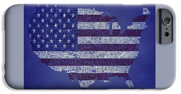 Old Glory Mixed Media iPhone Cases - USA Typographic Map 1a iPhone Case by Brian Reaves