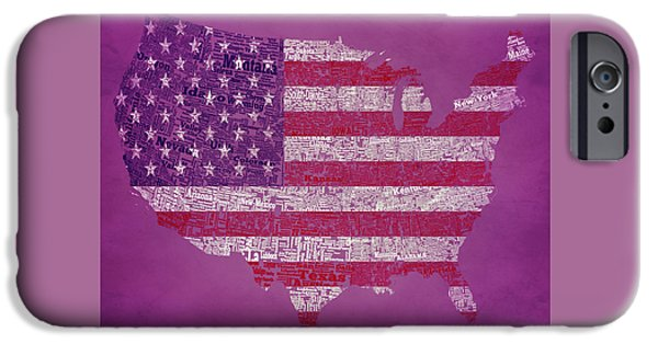 Old Glory Mixed Media iPhone Cases - USA Typographic Map 1b iPhone Case by Brian Reaves