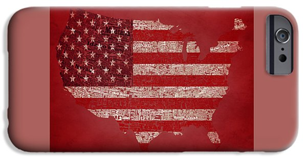 Old Glory Mixed Media iPhone Cases - USA Typographic Map 1c iPhone Case by Brian Reaves