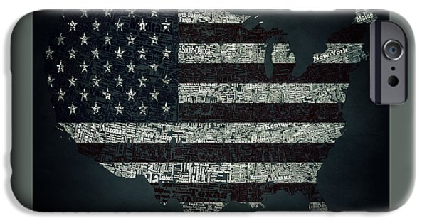 Old Glory Mixed Media iPhone Cases - USA Typographic Map  iPhone Case by Brian Reaves