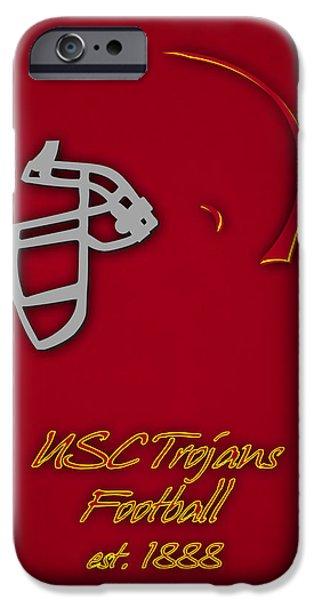 Dunk iPhone Cases - Usc Trojans Helmet iPhone Case by Joe Hamilton