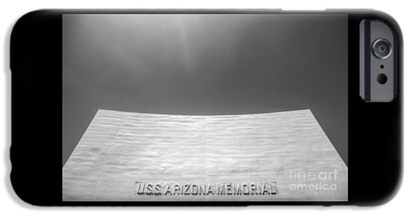 Historic Site iPhone Cases - USS Arizona Memorial in Black and White iPhone Case by Diane Diederich