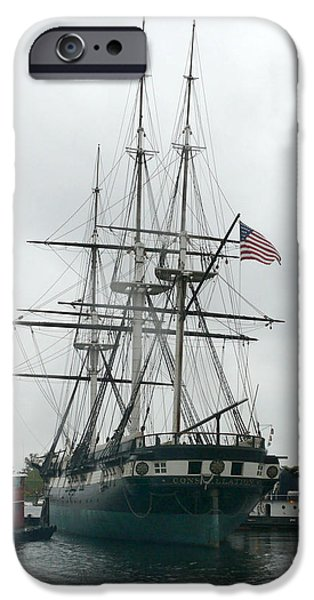 Constellation Paintings iPhone Cases - USS Constellation in Baltimores Inner Harbor iPhone Case by Celestial Images