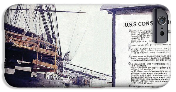 Constitution iPhone Cases - U.S.S. Constitution at Dock - Boston Harbor iPhone Case by Merton Allen