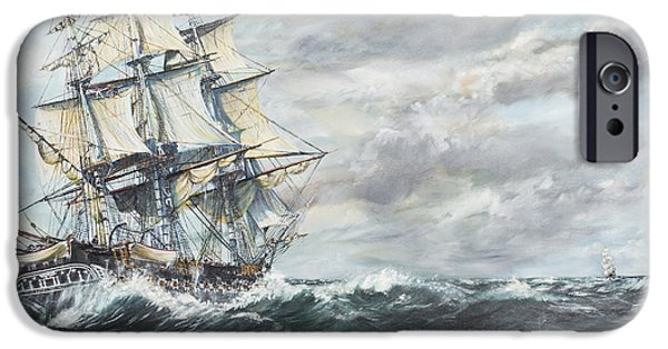 Warship iPhone Cases - USS Constitution heads for HM Frigate Guerriere iPhone Case by Vincent Alexander Booth