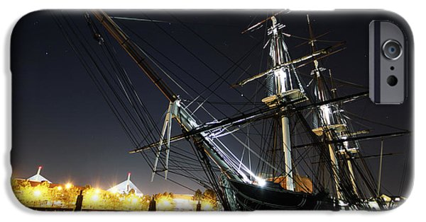 Constitution Paintings iPhone Cases - USS Constitution is moored to her pier at night iPhone Case by Celestial Images