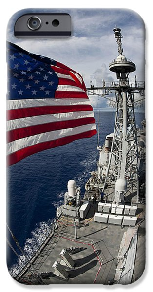 Cruiser iPhone Cases - Uss Cowpens As Seen From The Top iPhone Case by Stocktrek Images