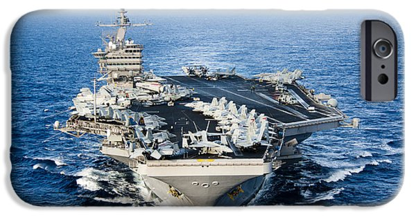 High Angle iPhone Cases - Uss John C. Stennis Transits iPhone Case by Stocktrek Images