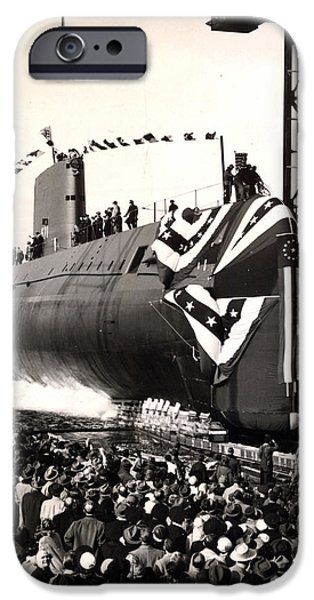 Ceremony iPhone Cases - Uss Nautilus Slips Into The Thames iPhone Case by Stocktrek Images