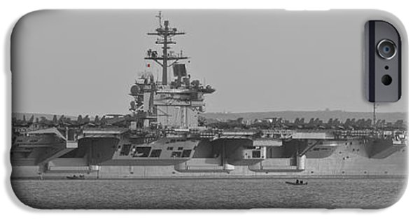 Weapon iPhone Cases - USS Theodore Roosevelt in the Solent iPhone Case by Terri  Waters