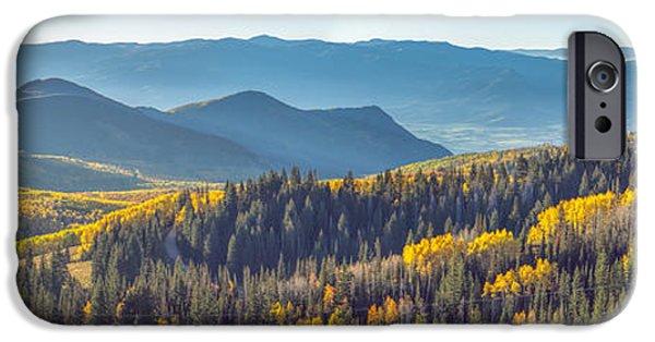 Autumn Foliage Photographs iPhone Cases - Utah Autumn Panorama iPhone Case by James Udall