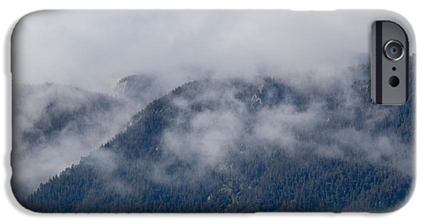 Fog Mist iPhone Cases - Ute Pass as Storm Clouds and Fog Roll In  iPhone Case by Steve Krull