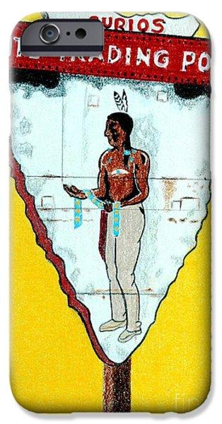 Colorado Drawings iPhone Cases - Ute Trading Post iPhone Case by Glenda Zuckerman