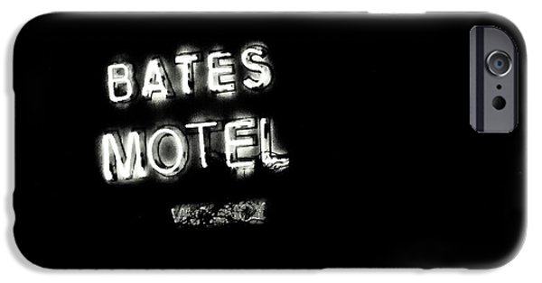 Films By Alfred Hitchcock iPhone Cases - Vacancy at Bates Motel bw iPhone Case by Denise Dube