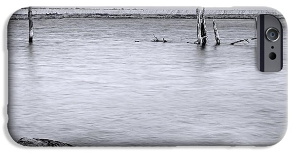 Abstract Seascape iPhone Cases - Vacant Wetlands iPhone Case by Denise Dube
