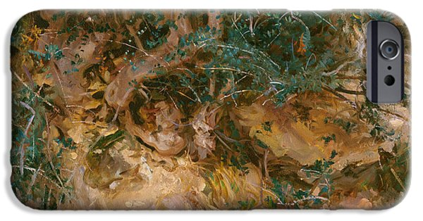 Tree Roots Paintings iPhone Cases - Valdemosa - Majorca - Thistles And Herbage On A Hillside iPhone Case by John Singer Sargent