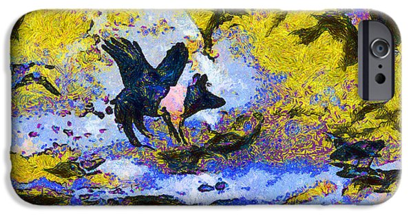 Pig Digital iPhone Cases - Van Gogh.s Flying Pig 3 iPhone Case by Wingsdomain Art and Photography