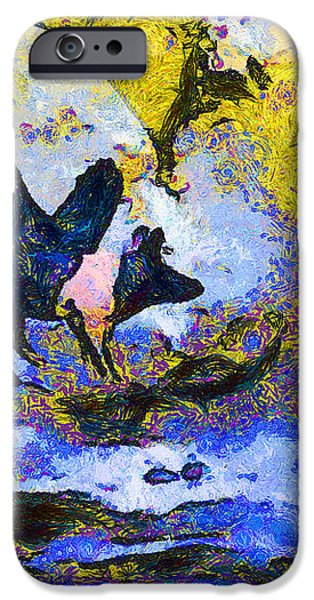 Van Gogh.s Flying Pig 3 iPhone Case by Wingsdomain Art and Photography