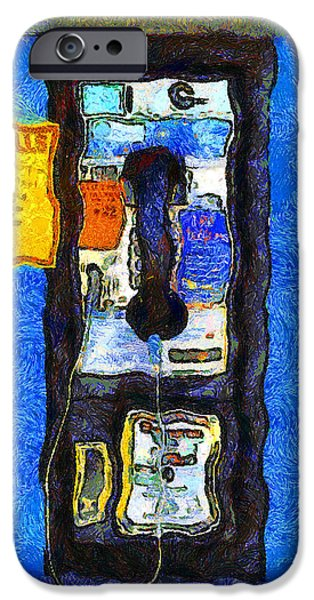 Van Gogh.s Pay Phone . 7D15934 iPhone Case by Wingsdomain Art and Photography