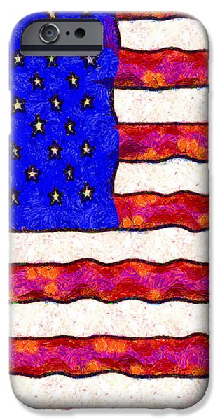 Van Gogh.s Starry American Flag . Square iPhone Case by Wingsdomain Art and Photography