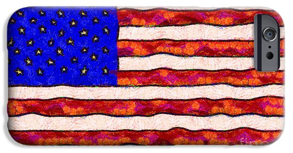 4th July iPhone Cases - Van Gogh.s Starry American Flag iPhone Case by Wingsdomain Art and Photography