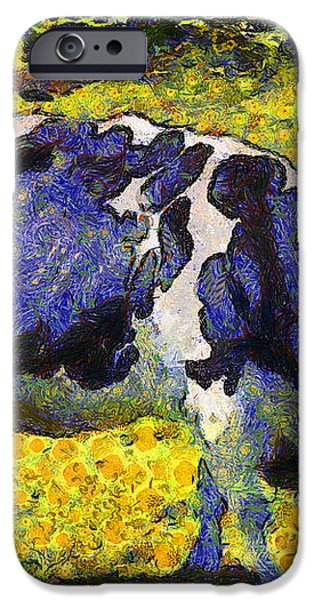Van Gogh.s Starry Blue Cow . 7D16140 iPhone Case by Wingsdomain Art and Photography