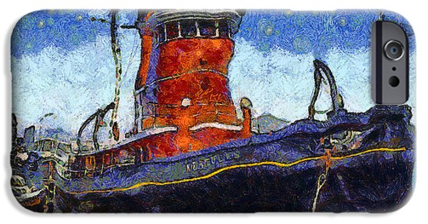 Bay Area Digital iPhone Cases - Van Gogh.s Tugboat . 7D14141 iPhone Case by Wingsdomain Art and Photography