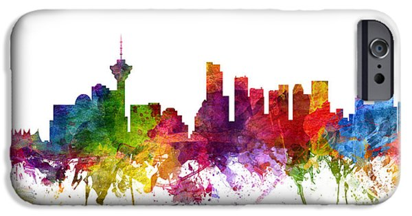 Colour Drawings iPhone Cases - Vancouver Canada Cityscape 06 iPhone Case by Aged Pixel