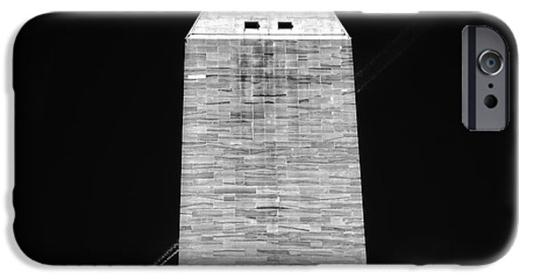 President iPhone Cases - Vapor Trail Behind Washington Memorial BW iPhone Case by Tom Gari Gallery-Three-Photography