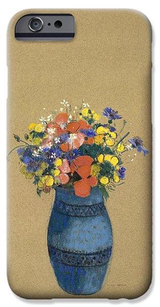 19th Century Pastels iPhone Cases - Vase of Flowers iPhone Case by Odilon Redon