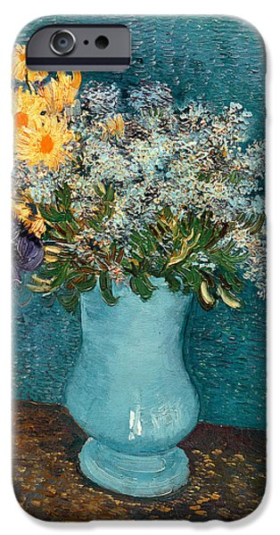 Lilac iPhone Cases - Vase of Flowers iPhone Case by Vincent Van Gogh