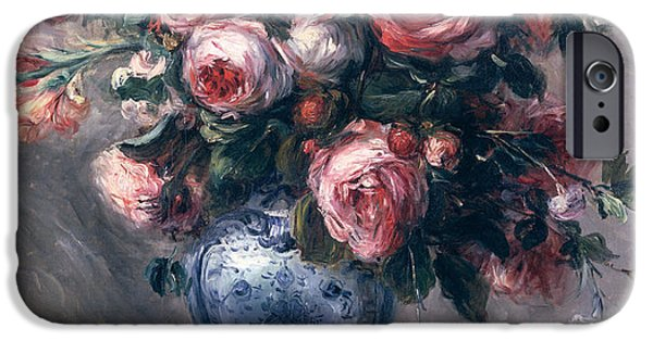 Pink Roses iPhone Cases - Vase of Roses iPhone Case by Pierre Auguste Renoir