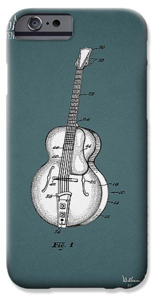 Music Photographs iPhone Cases - Vega Guitar Patent 1949 iPhone Case by Mark Rogan