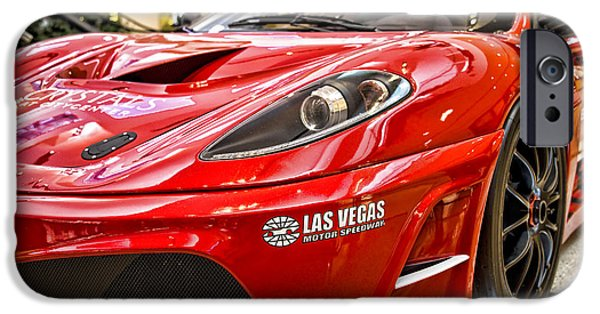 Old Cars iPhone Cases - Vegas Ferrari iPhone Case by Ricky Barnard