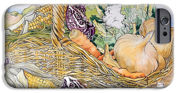 Signed Drawings iPhone Cases - Vegetables in a Basket iPhone Case by Joan Thewsey