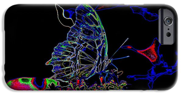 Insects Tapestries - Textiles iPhone Cases - Velvet Butterfly iPhone Case by Edna Weber