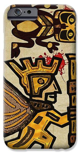 Sacrifice Mixed Media iPhone Cases - Vemana Kiik Mayan Sacrifice Folk Art iPhone Case by Sharon and Renee Lozen