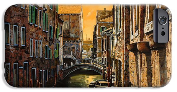 Boat Paintings iPhone Cases - Venezia Al Tramonto iPhone Case by Guido Borelli