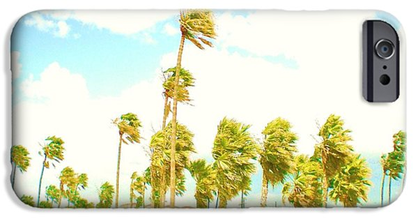 Palm Tree Greeting Cards iPhone Cases - Venice Beach in Windy Pastels iPhone Case by Daniele Smith