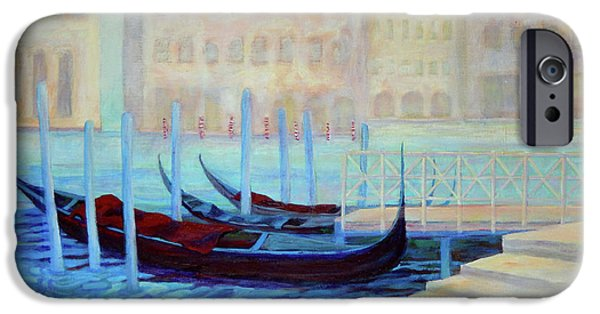 Boat iPhone Cases - Venice In Mist iPhone Case by Sharon Nelson-Bianco