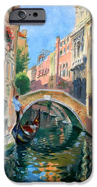 Reflection Paintings iPhone Cases - Venice Ponte Widmann iPhone Case by Ylli Haruni