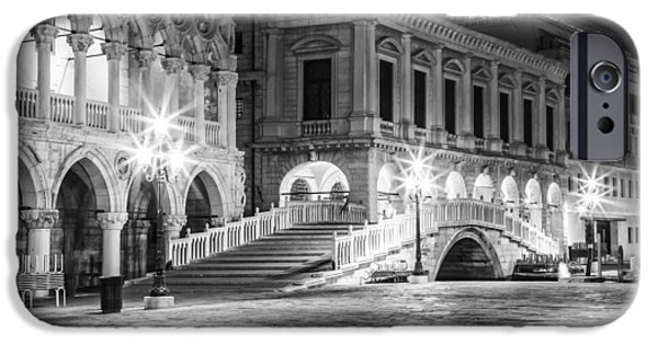 Night Lamp iPhone Cases - VENICE Riva degli Schiavoni by Night black and white iPhone Case by Melanie Viola