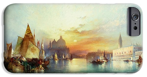Sail Boat iPhone Cases - Venice iPhone Case by Thomas Moran