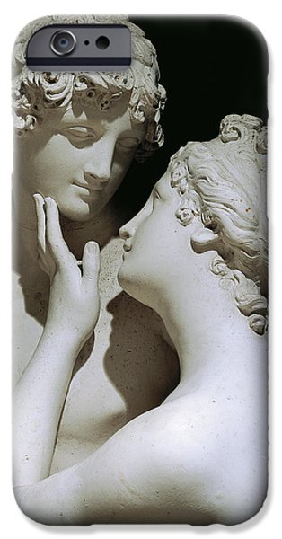 Love Sculptures iPhone Cases - Venus and Adonis iPhone Case by Antonio Canova
