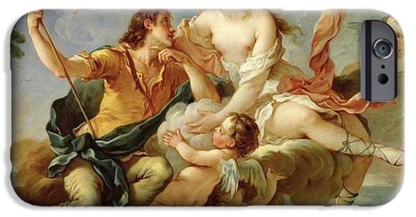Myth iPhone Cases - Venus and Adonis  iPhone Case by Charles Joseph Natoire