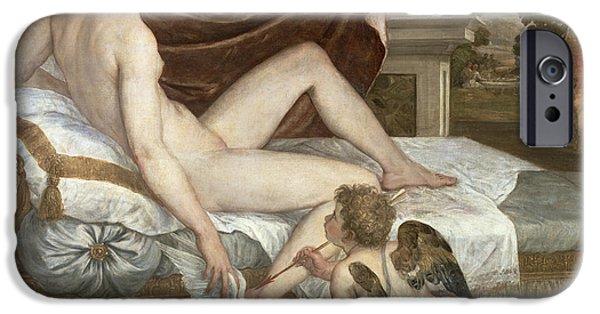Cupid iPhone Cases - Venus and Cupid iPhone Case by Lambert Sustris