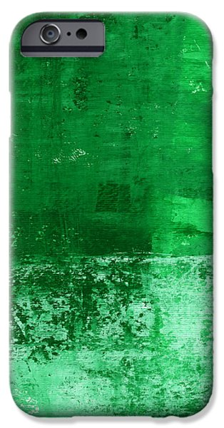 Blue Abstracts Mixed Media iPhone Cases - Verde-  Contemporary Abstract Art iPhone Case by Linda Woods